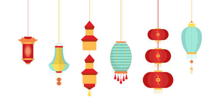 Set of various Chinese lanterns of diffrent collors and shapes. Traditional Chinese New Year decoration with asian pattern. Festival decoration. Isolated flat vector illustration 向量圖像