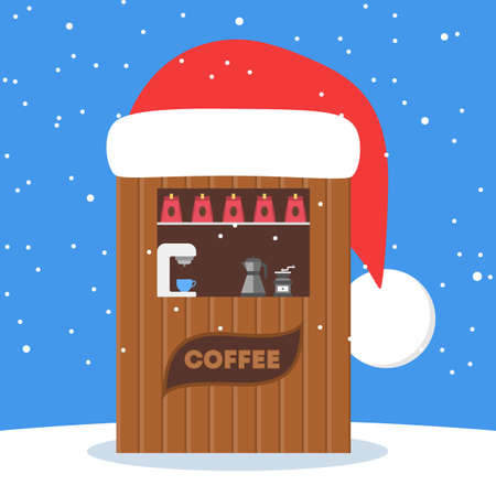 Christmas market vector illustration. Coffe shop. Lovely holiday tradition.