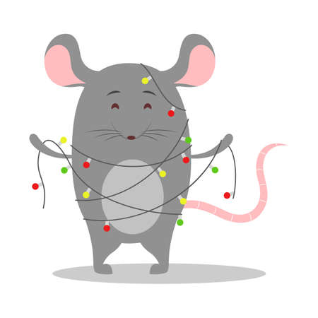Cute Christmas rat. Animal character holding festive stuff. 2020 year symbol holding Christmas lights. Isolated vector illustration in flat style Illustration