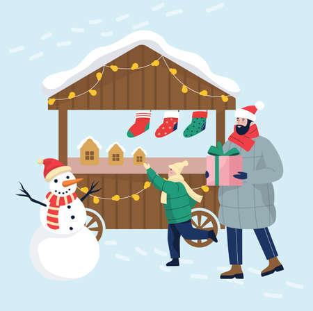 Christmas market vector illustration. People buying Christmas presents Illustration