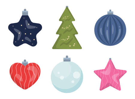 Set of vector illustration of traditional Christmas decoration. Christmas tree glass and plastic decoration. Classic holiday element