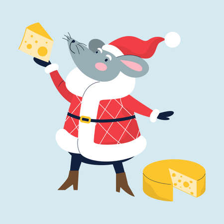 New 2020 year symbol. Cute mouse holding cheese. Illustration