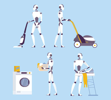 Robot doing housework. Robotic housekeeping. Robot doing home cleanup, laundry. Futuristic technology and automation. Set of isolated vector illustration in cartoon style Çizim