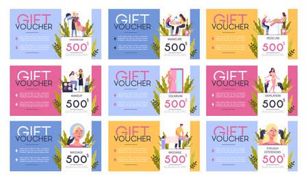 Gift voucher for beauty center concept. Beauty salon voucher for procedure.