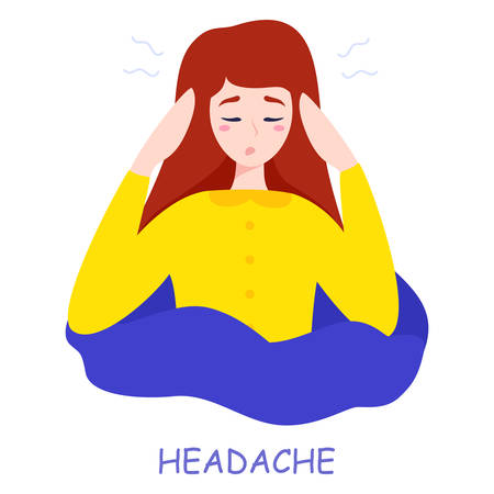 Woman suffer from the pain in the head. Headache and stress Stock Vector - 135258184