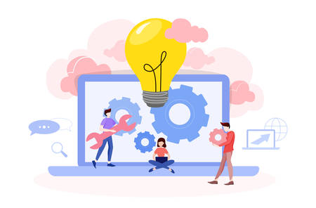 Website development concept. Web page programming and making responsive interface on computer. Mobile and computer interface. Digital technology. Vector illustration in cartoon style Stock Vector - 135240884