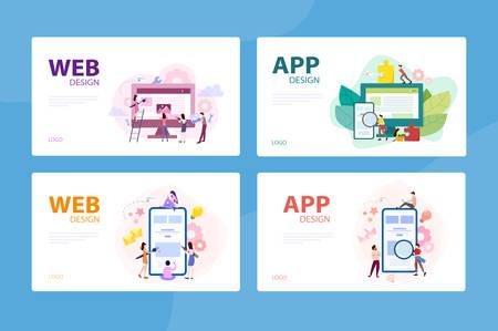 Mobile app and web development banner concept set. Stock Vector - 135892813
