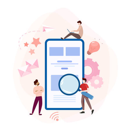 Website development concept. Web page programming and making responsive interface on computer. Mobile and computer interface. Digital technology. Vector illustration in cartoon style Illustration