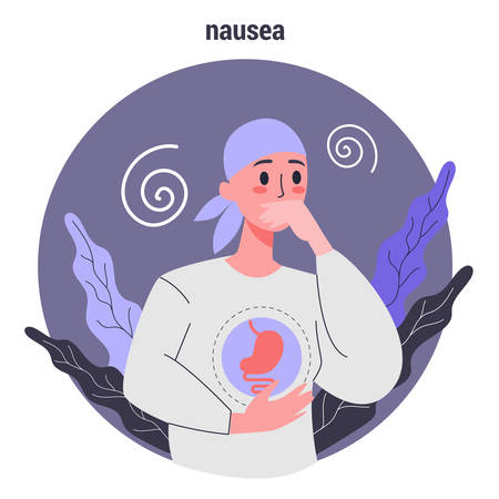 Side effects of chemotherapy. Patient suffer from cancer disease. Female with nausea. Vector illustration in cartoon style