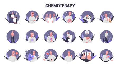 Side effects of chemotherapy set. Patient suffer from cancer disease. Male character suffering from chemo treatment. Hair loss and nausea. Vector illustration in cartoon style