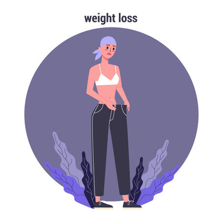 Side effects of chemotherapy. Patient suffer from cancer disease. Female loosing her weight. Vector illustration in cartoon style Vector Illustration