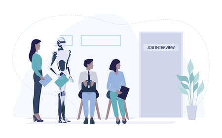 Robot standing in queue with candidate for a job interview