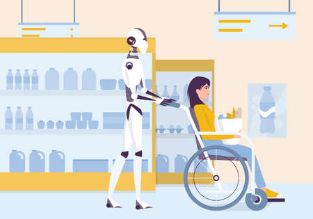 Personal robot for disabled people assistance. AI helps people in their life. Young disabled character sitting in a wheelchair. Woman on wheelchair shopping. Vector illustration in cartoon style Stock Illustratie