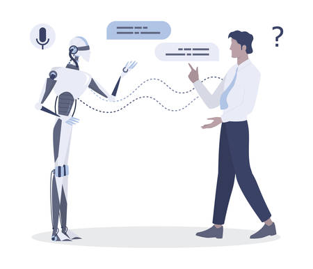 Man talking to robot. Conversation between man and artificial intelligence. Chatbot and technical support concept. Vector illustration in cartoon style