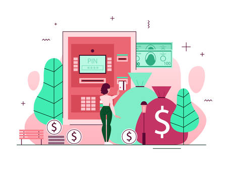 Woman at the ATM. Withdraw cash from machine, making payment and other financial operations. Automatic transaction through credit card. Vector illustration in flat style Vectores