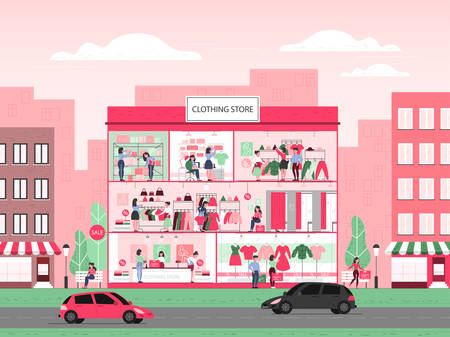 Clothing store building interior. Clothes for men and women. Counter, fitting rooms and shelves with dresses. People buy and try new clothes. Vector flat illustration