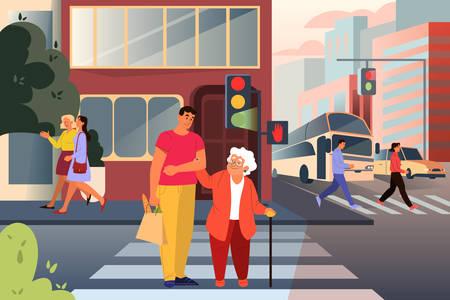 Personaje masculino adulto ayudando a anciana a cruzar la calle. Hombre, apoyo, anciana