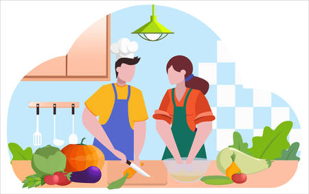 Restaurant chef cooking. People in apron making tasty dish. Illustration