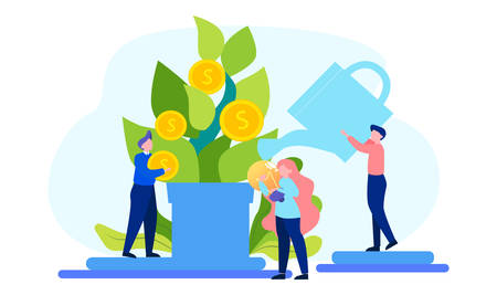 Increase revenue design of web banner concept. Idea of capital growth