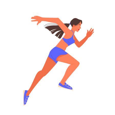 Vector illustration of female athlete sprinting. Running competition.