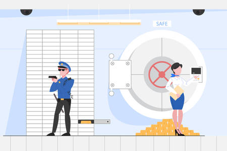 Safe room in the bank office. Big secure door made of steel with lock. Finance operaions and deposit. Police officer standing in room. Vector illustration in flat style.