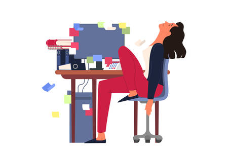 Exhausted businesswoman sitting in the office. Deadline concept. Idea of many work and few time. Business problems. Isolated vector illustration in cartoon style Ilustrace