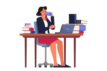 Donna d'affari esaurita che beve caffè in ufficio. Concetto di scadenza. Idea di tanti lavori e poco tempo. Problemi di affari. Illustrazione vettoriale isolato in stile cartone animato Vettoriali
