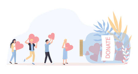 Donation concept. Little people holding hearts as a methaphor of philanthropy. Idea of money investment or crowdfunding. Help poor people. Isolated vector illustration in cartoon style