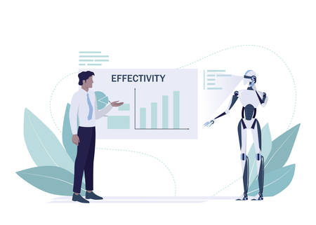 Businessman and robot making a presentation. Robot character help a man in business. Teamwork with robot. Cyborg in office life. Futuristic business process idea. Vector illustration in cartoon style Vector Illustration