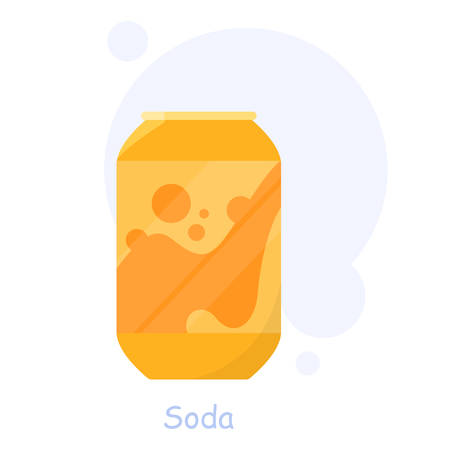An aluminium can of soda. Summer drinks. Non-alcoholic fizzy beverages. Non-healthy lifestyles. Isolated vector flat illustration