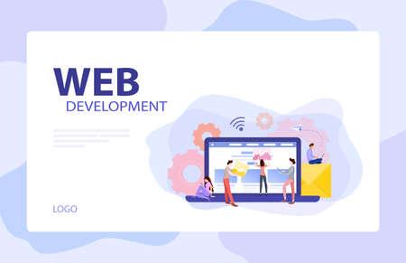Mobile app and web development banner concept set.