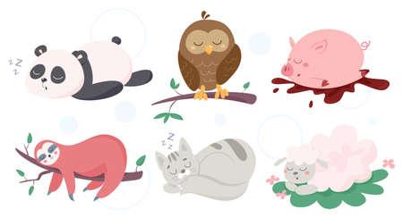 Adorable funny animals asleep set. Panda, owl, pig, kitten, sheep and sloth. Vector illustration in cartoon style Foto de archivo - 136996780