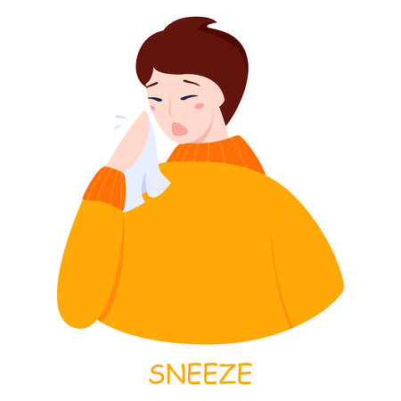 Man sneeze. Ill guy in a fever. Flu or cold symptom. Idea of illness and healthcare. Flat vector illustration  イラスト・ベクター素材