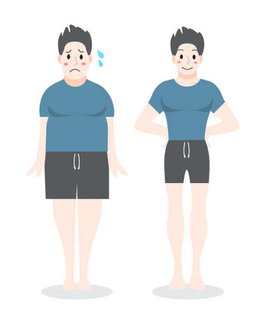 From fat to fit concept. Man loosing his weight. Slimming progress, fitness exercise. Vector illustration in cartoon style