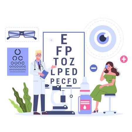 Konzept der Augenheilkunde. Patientin in einem Beratungsgespräch mit Augenarzt. Augenarzt, der auf Sehtestdiagramm zeigt Sehprüfung und Korrektur. Vektorillustration im Cartoon-Stil