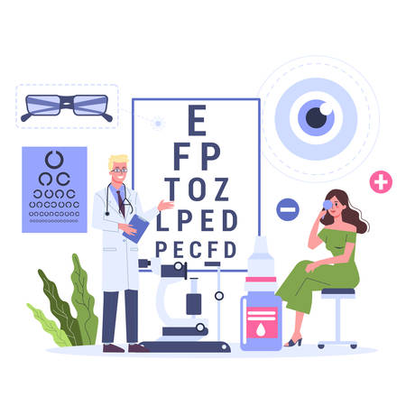 Ophthalmology concept. Female patient on a consultation with ophthalmologist. Oculist pointing at eye test chart. Eyesight examination and correction. Vector illustration in cartoon style