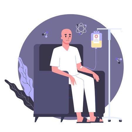 El paciente padece cáncer. Paciente de oncología de personaje masculino con un gotero recibiendo una quimioterapia. Idea de tratamiento de salud, enfermedad oncológica y medicina. Ilustración vectorial en estilo de dibujos animados