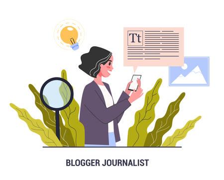 Blogger journalist concept. Mass media profession. Woman share content
