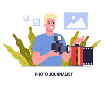 Journalist set. Mass media profession. TV reporter with microphone. Stock Illustratie