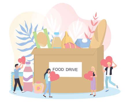 Concepto de caridad. La gente dona comida para ayudar a los pobres.