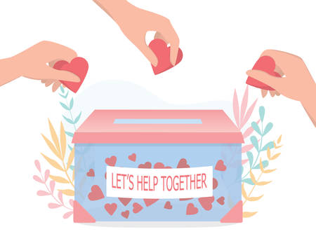 Donation concept. Little people holding hearts as a methaphor of philanthropy. Vecteurs