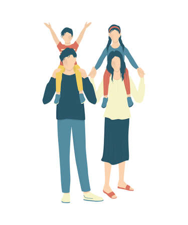 Happy family concept. Parents with their children on white background. Family laisure. Mother and father spend time with their kids. Isolated vector illustration in cartoon style