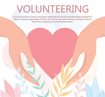 Volunteering web banner concept. Team of volunteers help people,  イラスト・ベクター素材