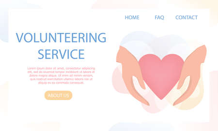 Volunteering web banner concept. Team of volunteers help people, charity and donation project. Hearts as a methaphor of philanthropy. Vector illustration in cartoon style Illusztráció