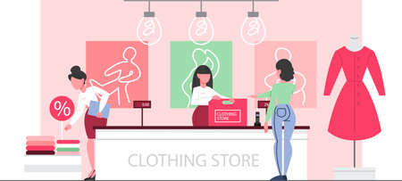 Clothing store interior. Woman standing at the counter in the clothing store and bying clothes. Beautiful cashier in fashion boutique. Vector illustration in flat style.