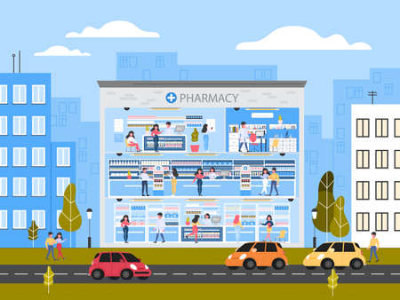 Modern pharmacy building interior with rooms and visitors. Illustration