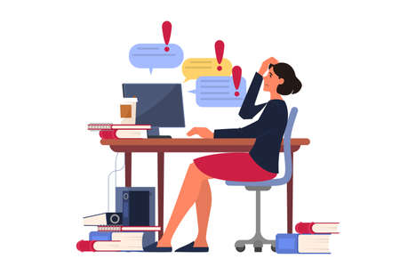 Stress at work and deadline concept. Idea of many work and few time. Employee in a hurry. Panic and stress in office. Woman with business problems. Flat vector illustration