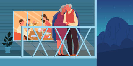 Old couple embracing outside. Elderly people spend time together and with family. Woman and man on retirement. Happy grandfather and grandmother at home. Vector illustration in cartoon style
