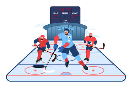 Isolated vector illustration of hockey team athlete. Hockey player practising. Young professional sportsman training. Athlete on the arena, team sport concept. Healthy lifestyle concept.