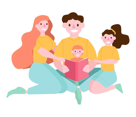Child reading book with parents. Happy parents and child spend time together. Family activity. People reading book. Collection of man and woman who read at home. Flat vector illustration